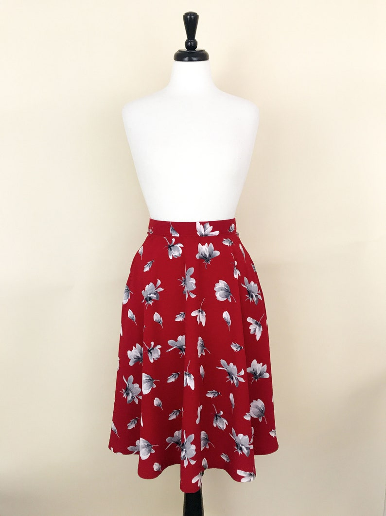50s Style Modest Red Floral Custom Ethereal Vintage Inspired image 0
