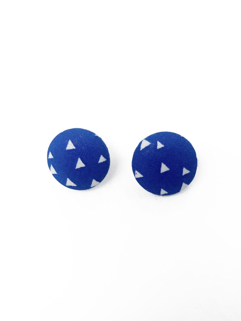 Quirky Blue White Triangle Print Fabric Earrings image 0