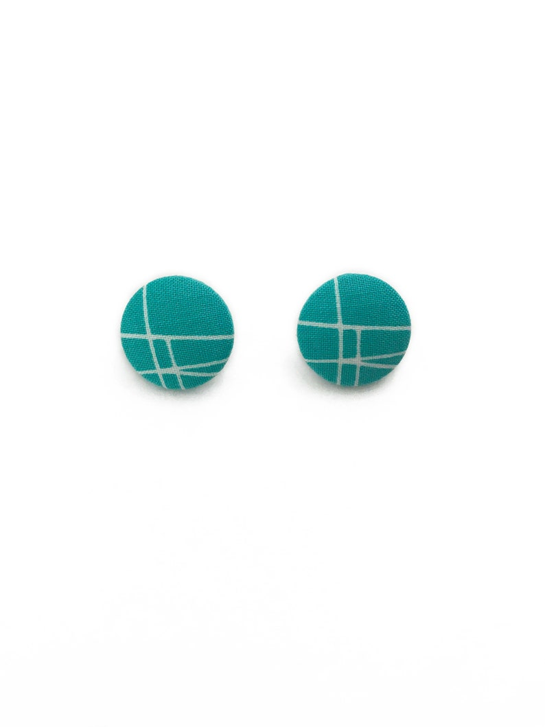 Atomic Mid Century Retro Fabric Earrings  Novelty Print image 0