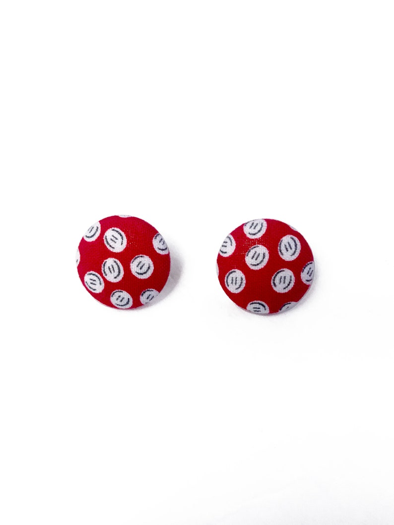 Quirky Red White Buttons Novelty Print Fabric Earrings image 0