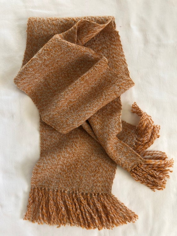Handspun Handwoven Cream and Orange Tunis and Merino Wool Scarf for Men and Women Special Needs Autism