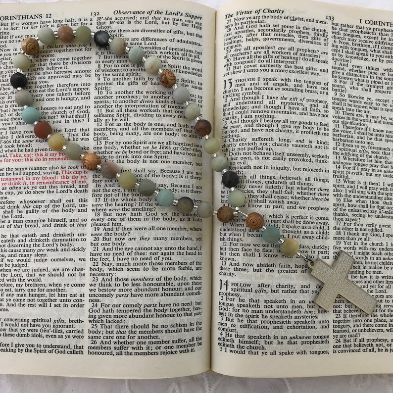 1c28d2cb74afb Protestant Prayer beads, Anglican prayer beads,Christian prayer beads for  men & women, Lord's Prayer stainless cross, Holy Land olive wood