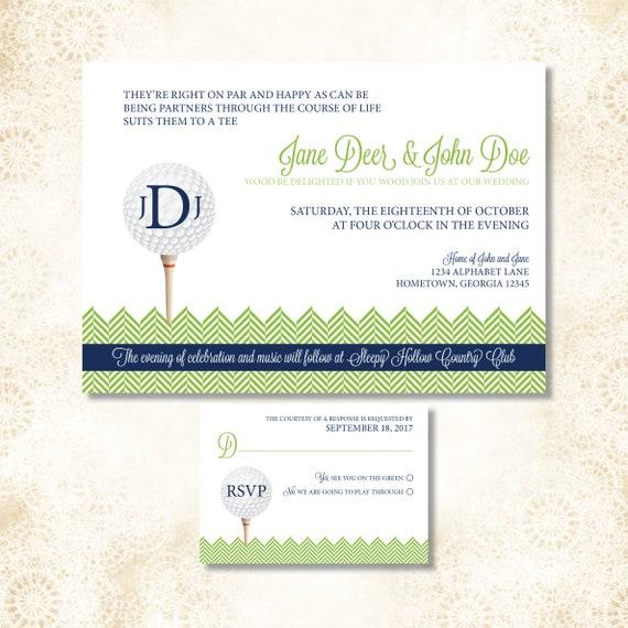 5x7 Customized Wedding Invitation Golf Themed Etsy