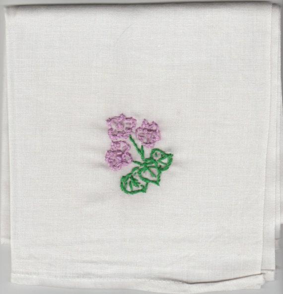 Pañuelo de flores púrpura bordado vintage | Etsy