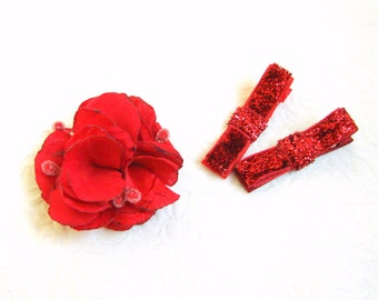 Valentine's hair clips baby hair clips Red Non-slip clips Valentine's Toddler hair clips Red flower baby barrettes Sparkle Red toddler clip