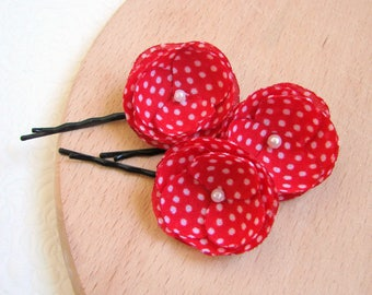 Girls Red hair clips Dotted barrettes Red hair pins Tiny hair flowers Red Shabby girls pins Small hair flowers Red white Summer hair slides