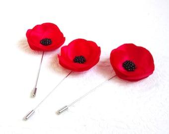 Poppy lapel pin | Etsy