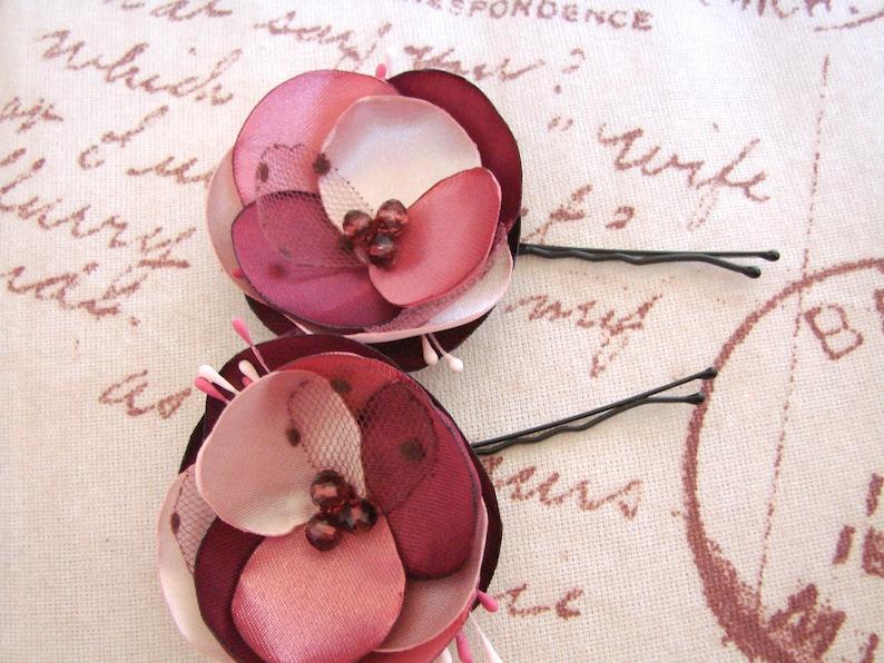 Blush Mauve Burgundy hair flowers bridal Flower girl or Bridesmaids accessory Blush Pink Burgundy Mauve