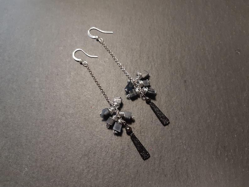 Drop Earrings Hematite Stones Earrings Simple Earrings Minimalist Earrings Bohemian Earrings Long Earrings