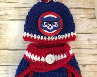 85cdc132990 Chicago Cubs baby hat and diaper cover newborn Chicago Cubs
