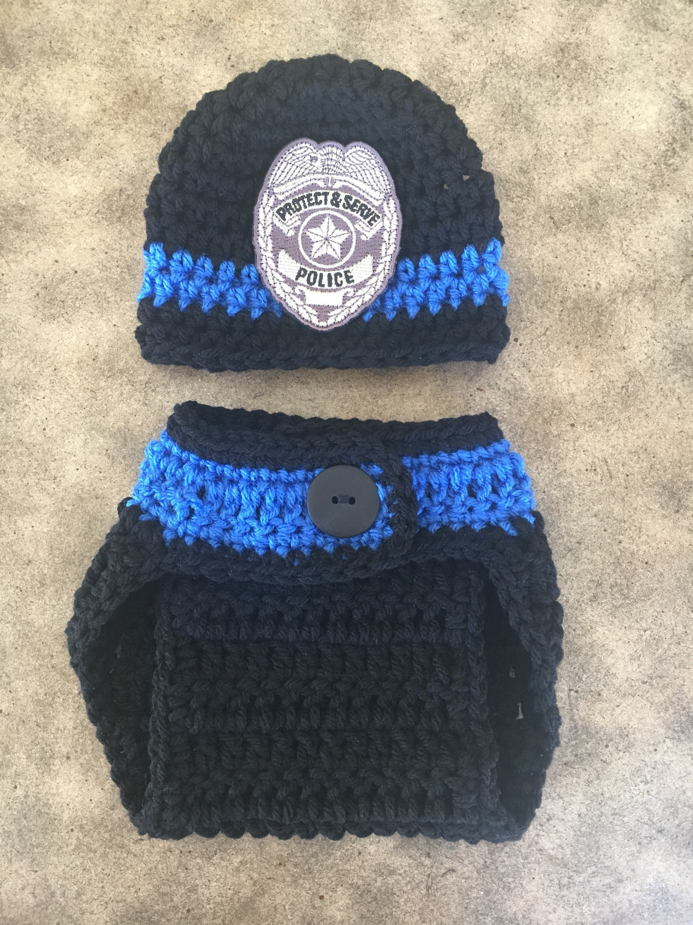 Baby police badge crochet hat baby police lives matter  bc04b1189bc