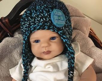 Newborn boy hat with cute as a button, baby boy newborn hat, newborn boys first hat, newborn boy hospital hat, newborn boy baby gift