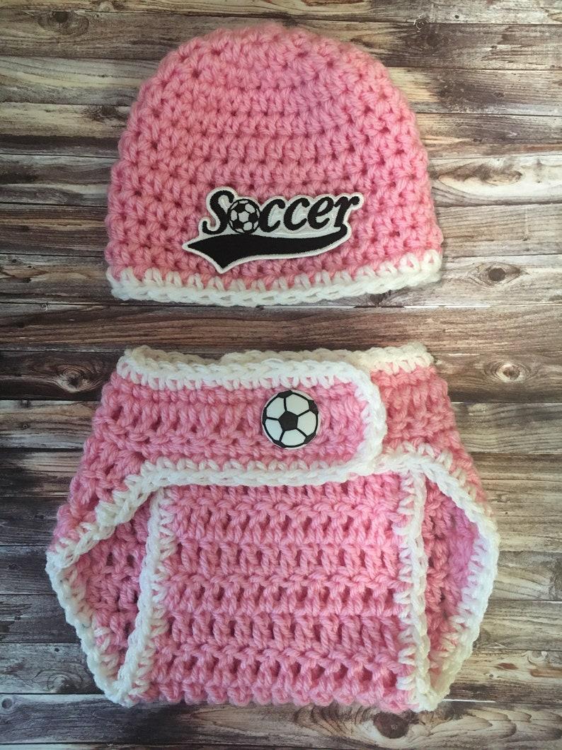 561e58952bd Baby girl soccer hat or diaper cover newborn girl soccer