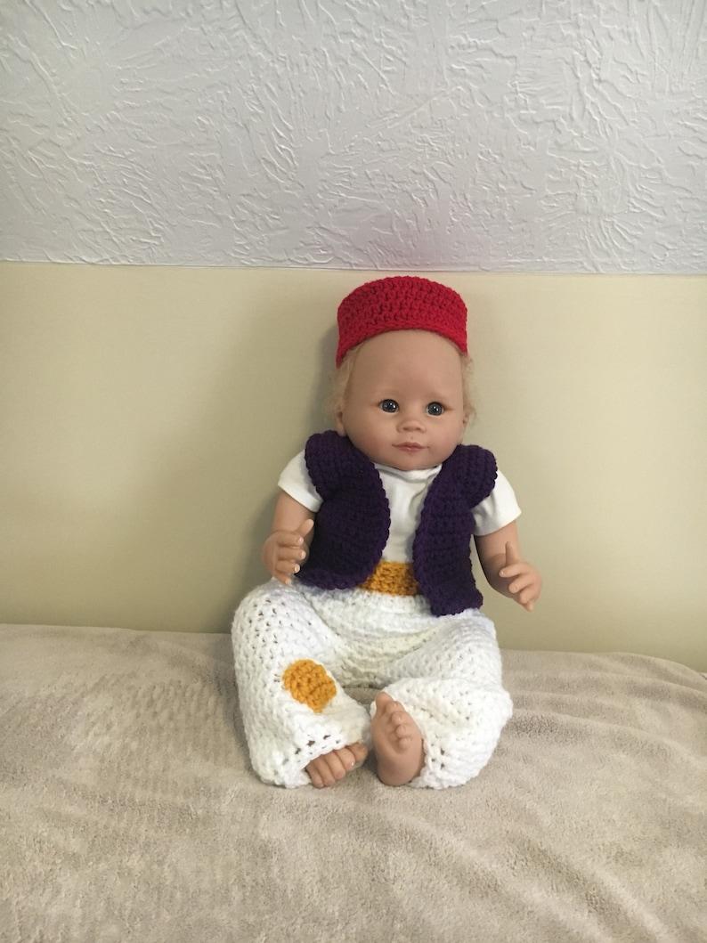 78ccae604 Aladdin inspired baby costume, newborn genie Halloween costume, crochet  Aladdin baby outfit, Aladdin photo prop