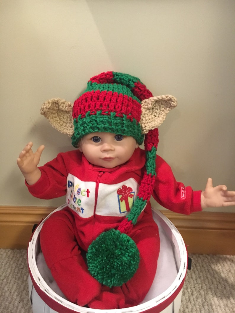 22d418d595f Baby elf stocking hat with ears winter baby hats Christmas