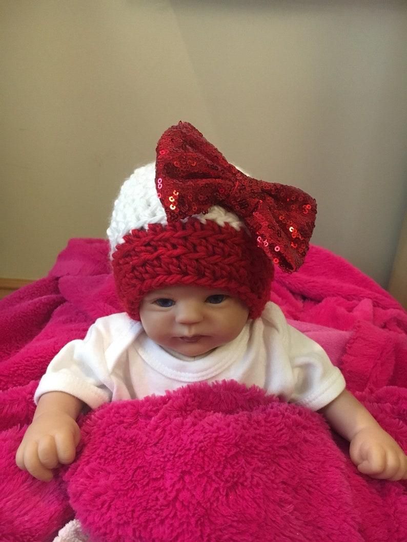 c864da9f25 Crochet baby girl Christmas hat with bow Christmas newborn