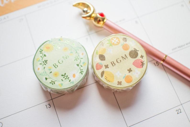 BGM foil floral fruit washi tapemasking tapeplannerjournal