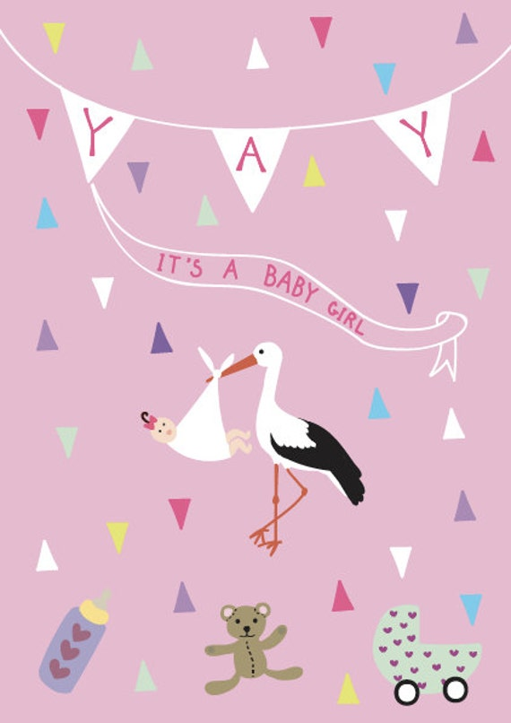 New born baby girl greeting card yay its a boy girl post etsy image 0 m4hsunfo