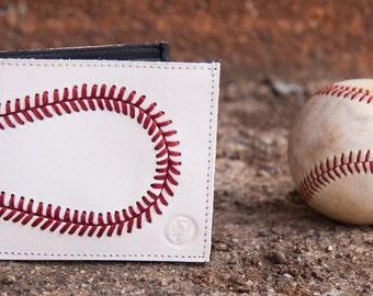 Genuine Baseball Leather Bifold Sports Wallet for Men