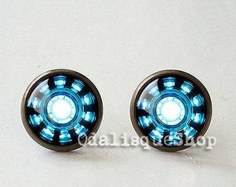 Iron Man Post Earrings Arc Reactor Stud Earrings Tony Stark Stud Earrings  Armor Suit Blue Power Birthday Gift Glass Earrings Bronze