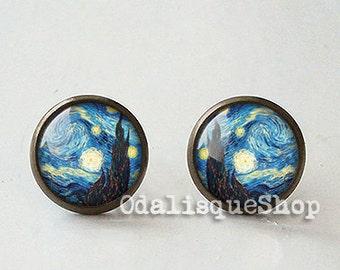 Van Gogh Starry Night Earrings Tiny Post Earrings Art jewellery gift present  Bronze 12 mm 14mm Jewelry e29b