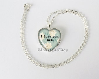 I love you mom heart necklace pendant for mother mother's day gift birthday gift keyring blue white flowers hs210