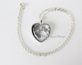 Luna llena corazón collar luna colgante llavero llavero espacio Mond Anhänger Mondhalskette regalos para su hs26