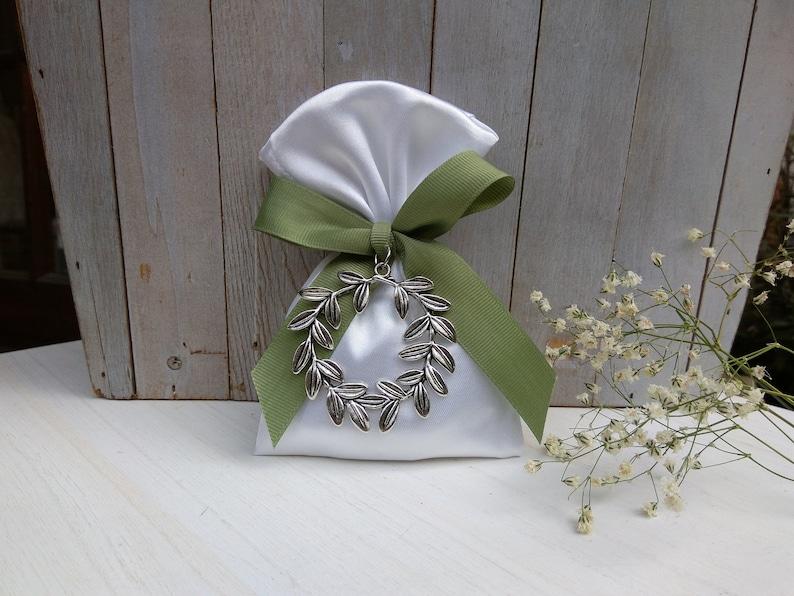 Olive wreath favor-Satin Bag Favor-koufeta bomboniera-wedding favor-baptism favor