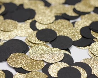 Black and Gold Glitter Circle Confetti - Black and Gold Party Decor - Table Confetti - Glitter Dots