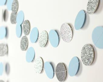 Blue and Silver Garland - Silver Glitter Garland - Light Blue Paper Garland - Circle Garland