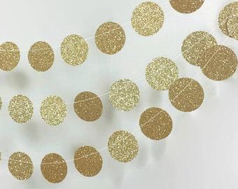 Gold Circle Garland - Gold Wedding Decor - Gold Glitter Garland - Gold Bridal Shower