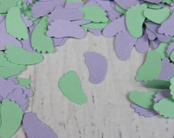 Lavender and Mint Baby Feet Confetti - Purple and Green Baby Shower Decor - Soft Purple and Mint Confetti Feet