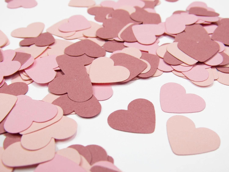 Mauve and Pink Confetti Hearts - Mauve Paper Hearts - Mauve Wedding ...