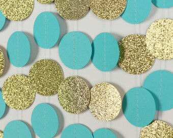 Turquoise and Gold Glitter Garland - Turquoise Wedding Decor - Turquoise Birthday Party Backdrop Photo Prop