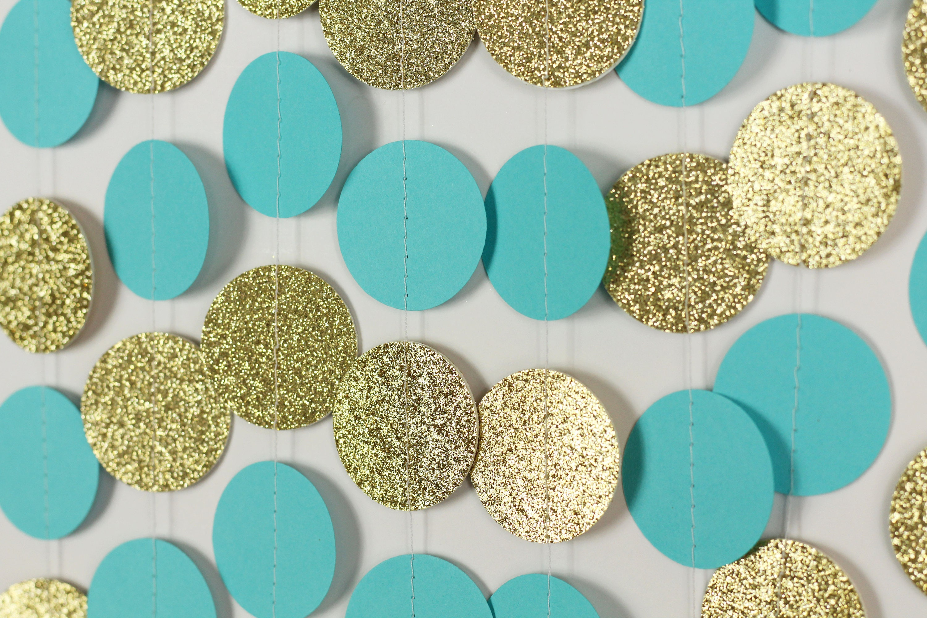 Turquoise And Gold Glitter Garland Turquoise Wedding Decor Etsy