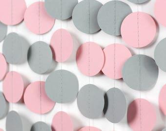 Gray and Pink Circle Garland - Pink Birthday Decor - Pink and Gray Garland - Girl's Birthday Decorations
