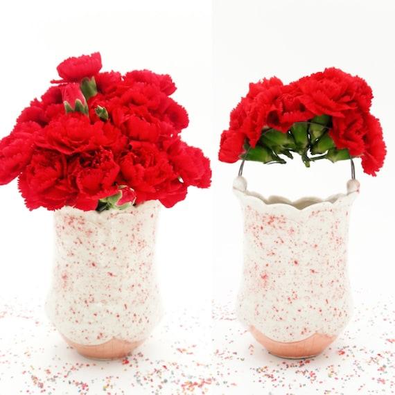 Valentines Day Flower Vase Pink Bud Vase Red Table Decor Etsy