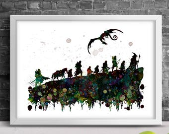 Lord of the Rings Poster - Fellowship of the Ring print, Movie Poster Print, Wall art, Wall decor, Watercolor painting, Nursery wall art