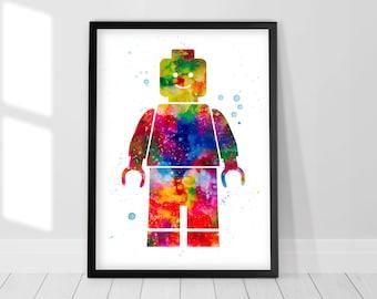 Lego Man minifigure art - Watercolor Print, Boys nursery decor, Wall art, Wall decor, Watercolor painting, Birthday gift, Nursery wall art