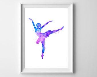 Ballerina watercolor painting - Ballet dancer art print, Girls nursery decor, Wall art, Dancing girl, Home decor, Gift for her, Dance poster