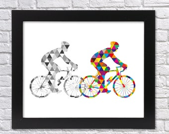 Cyclist Printable Art, Bikers Poster, Geometric Cyclist, Wall Art, Multi-Color with Triangles, Sport Gift, Nursery Art, Instant Download