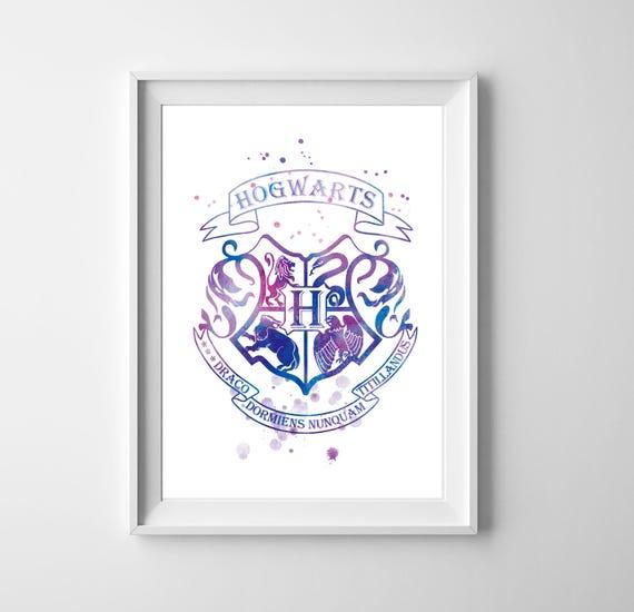 Hogwarts Wappen Aquarell Kunst Harry Potter Wandkunst Etsy