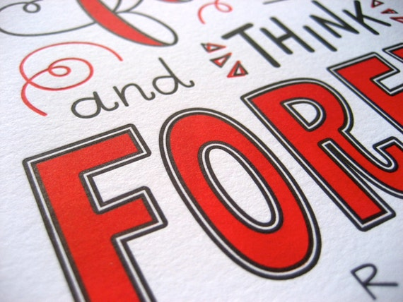 two-color editioned print  original lettering piece  red /& black wall art  8 x 10 print Original Letterpress Print of Carl Sagan Quote
