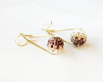 Topaz Crystal Earrings ~ bling earrings - drop earrings - gold drop earrings