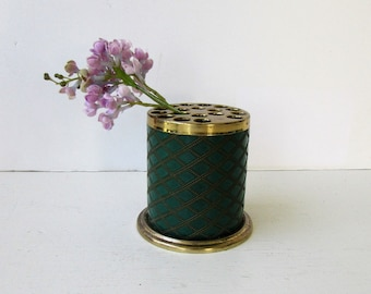Vintage Mid Century Pen Pencil Holder -  Brass and Faux Green Diamond Cut Leather - Brass Desk Accessory - Vintage Desk -