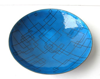 Mid Century Enamel on Copper Bowl - Claud Jensen Enamel Bowl - Turquoise Enamel with Black Geometric Pattern -