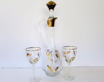 Vintage Decanter Set - Gold Metallic and Crystal Decanter with 2 Wine Glasses - Mid Century Barware - Wine Decanter - Etched and Frosted