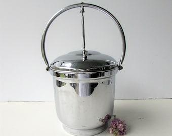 Vintage Art Deco Chrome on Brass Ice Bucket - Mid Century Barware - Silver Chrome Ice Bucket - Art Deco Style - Pyrex Liner -