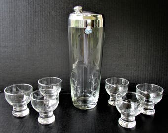 Vintage Javit Crystal Cocktail Shaker and 6 Matching Glasses  - Mid Century Barware - Wheat Pattern - Javit Badash Inc - Fine  Crystal