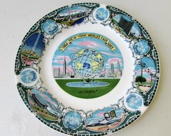 Vintage New York World's Fair Souvenir Plate 1964-1965 - Souvneir Plate - Vintage Souvenir - Ford - GM - Eastman Kodak - Unisphere -